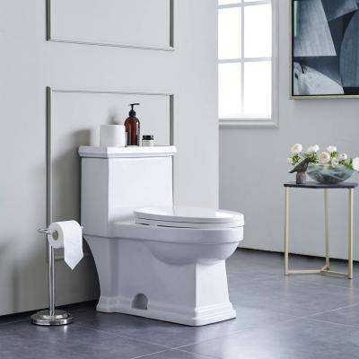 Voltaire 1-Piece 0.8/1.28 GPF Dual Flush Elongated Toilet in White, Seat Included