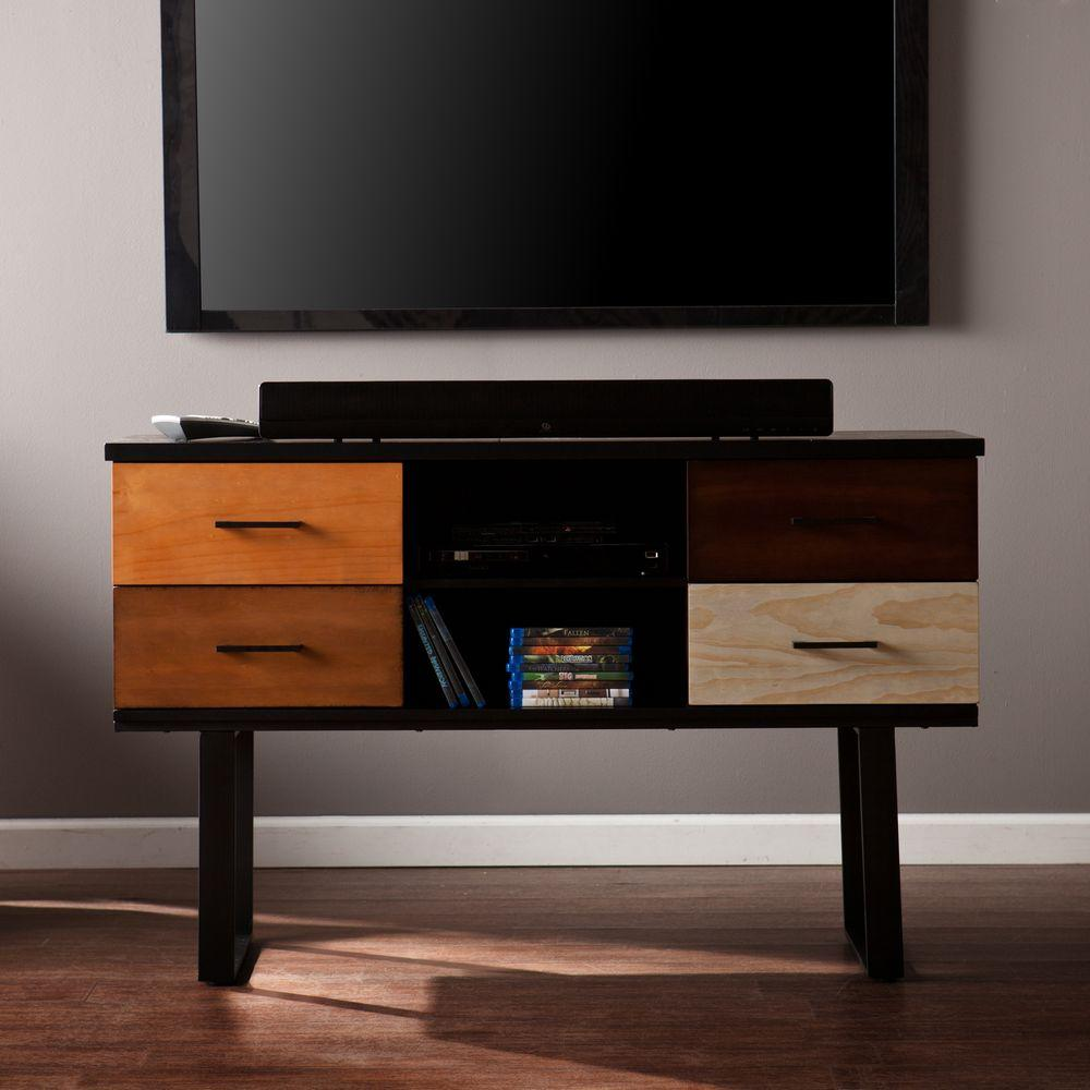 Southern Enterprises Evelyn Rectangle Wood Black with Multi-Color Console Table
