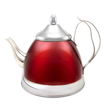 Nobili-Tea 2.0 qt. Metallic Cranberry Stainless Steel Tea Kettle with Removable Infuser Basket