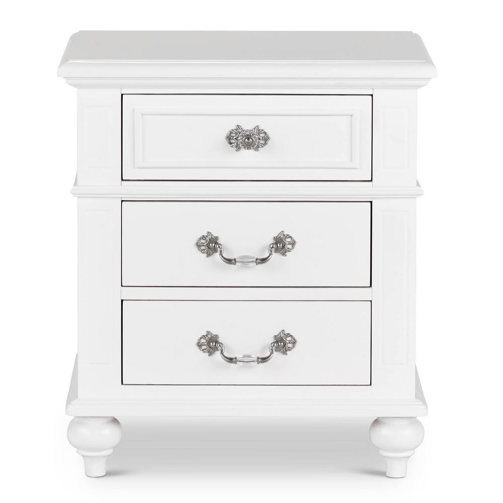 Annie 3-Drawer Nightstand in White