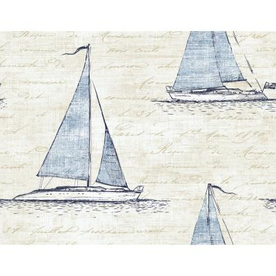 Nantucket Powder Blue and Off-White Sailboat Script Wallpaper