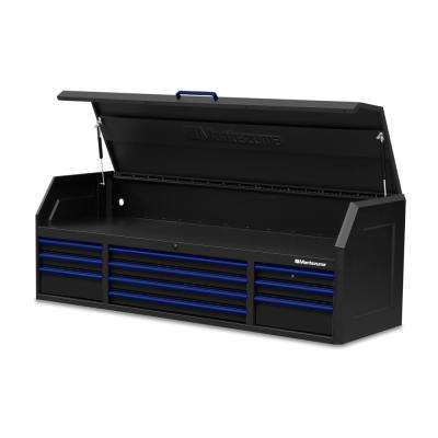 72 in. x 24 in. 10-Drawer Tool Top Chest with Power and USB Outlets in Black and Blue