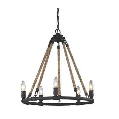 Wharfside 5-Light Textured Bronze Pendant