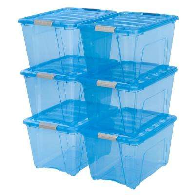 54-Qt  Stack and Pull Storage Box in Trans Blue (6-Pack)