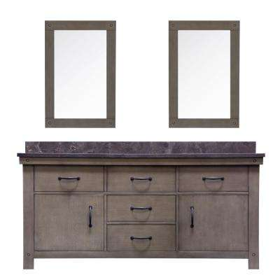 Aberdeen 72 in. W x 34 in. H Vanity in Grizzle Gray with Granite Vanity Top in Limestone with White Basins and Mirrors