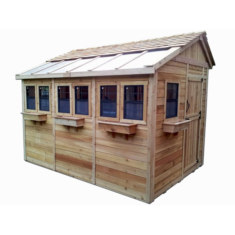 Outdoor Living Today Sunshed 8 ft. x 12 ft. Western Red Cedar Garden Shed
