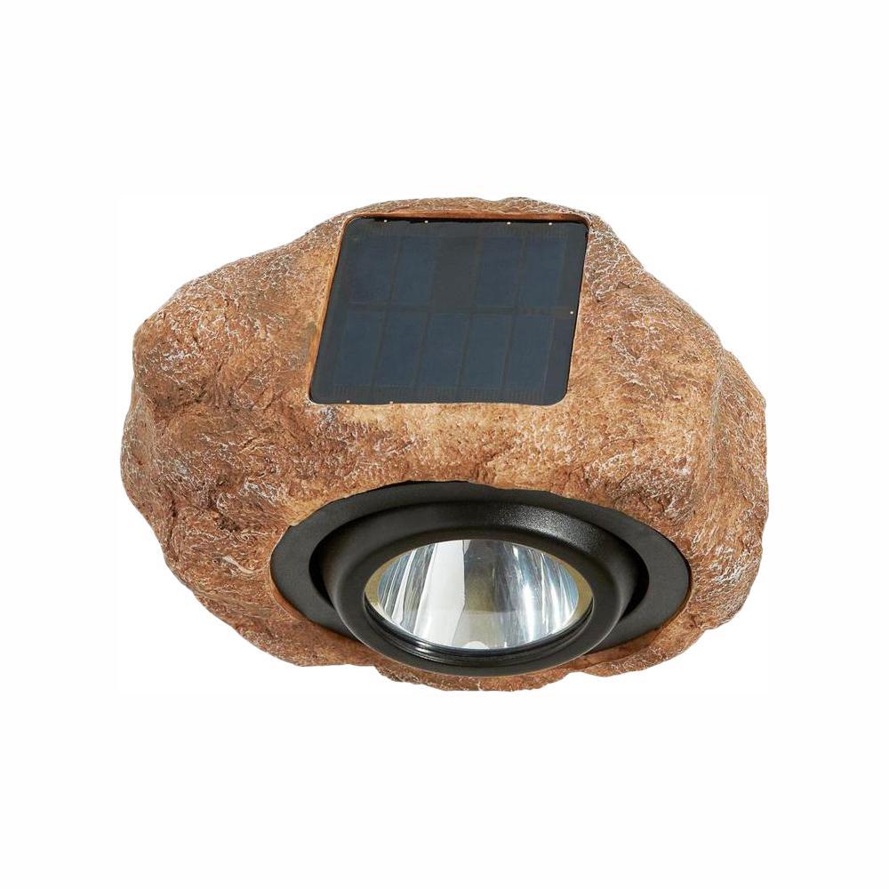 Hampton Bay 1-Light Solar Outdoor Integrated LED 3000K 30-Lumens Rock Spot Light