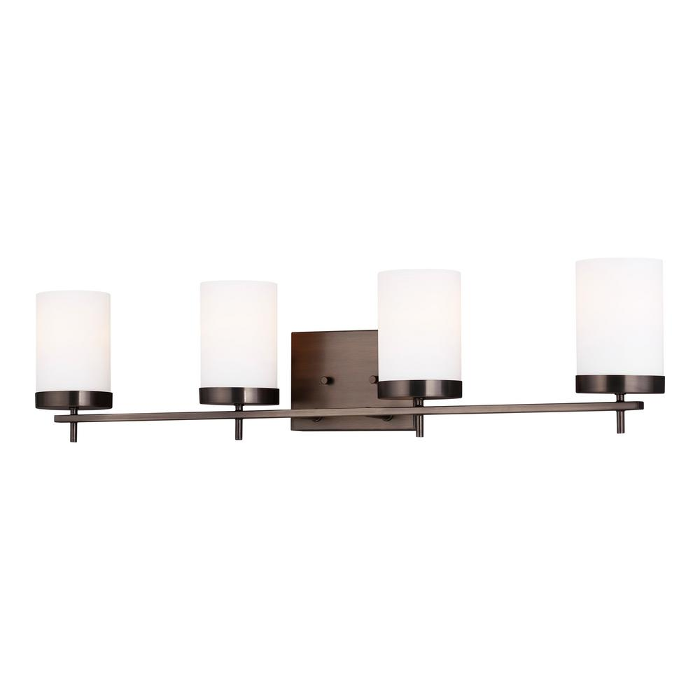 Sea Gull Lighting Zire 34 In W 4 Light Brushed Oil Rubbed Bronze Vanity With Etched White Gl Shades