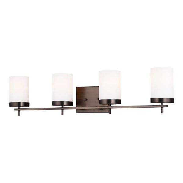 Zire 34 in. W 4-Light Brushed Oil Rubbed Bronze Vanity Light with Etched White Glass Shades