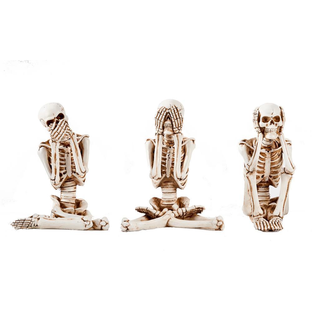 See No, Hear No, Speak No Evil Skeleton Figurine (Set of 3)