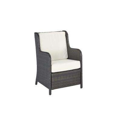 Riviera Deep Brown Woven Conversation Patio Chair with Cushions