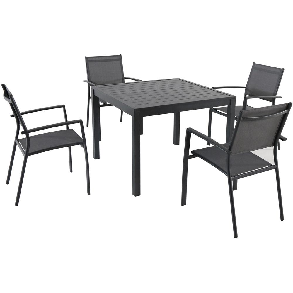 Hanover Naples 5 Piece Aluminum Square Outdoor Dining Set