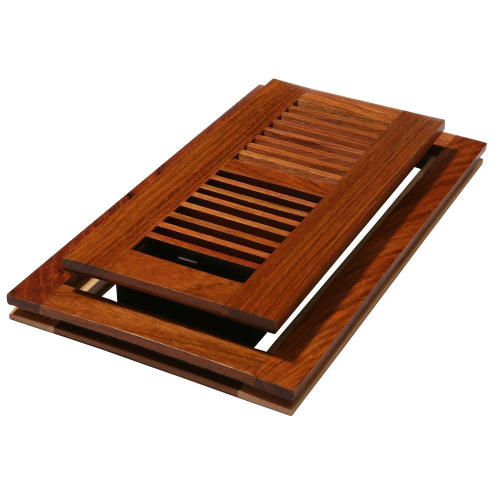Decor Grates 4 in. x 12 in. Natural Cherry Louvered Flushmount Register