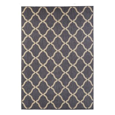 Navy Trellis 7 ft. x 9 ft. Indoor/Outdoor Area Rug