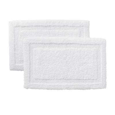White 19 in. x 34 in. Non-Skid Cotton Bath Rug with Border (Set of 2)