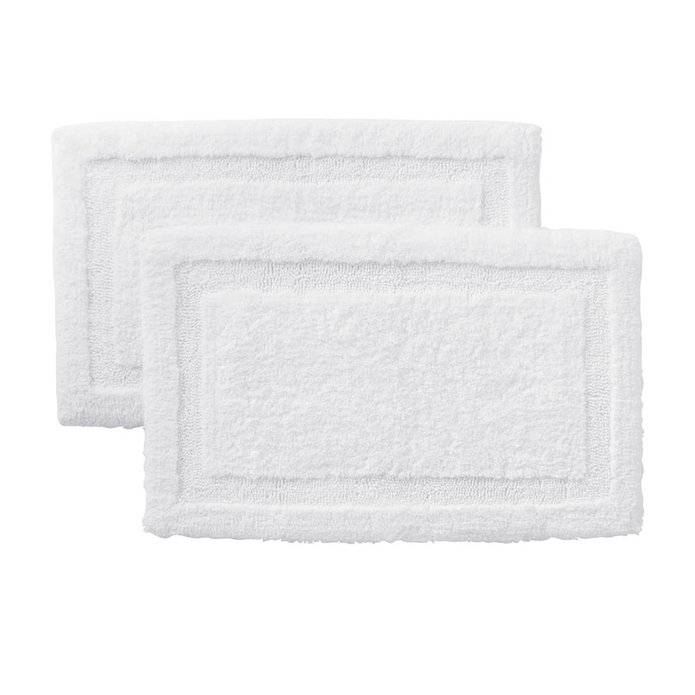 White 25 in. x 40 in. Non-Skid Cotton Bath Rug with Border(Set of 2)
