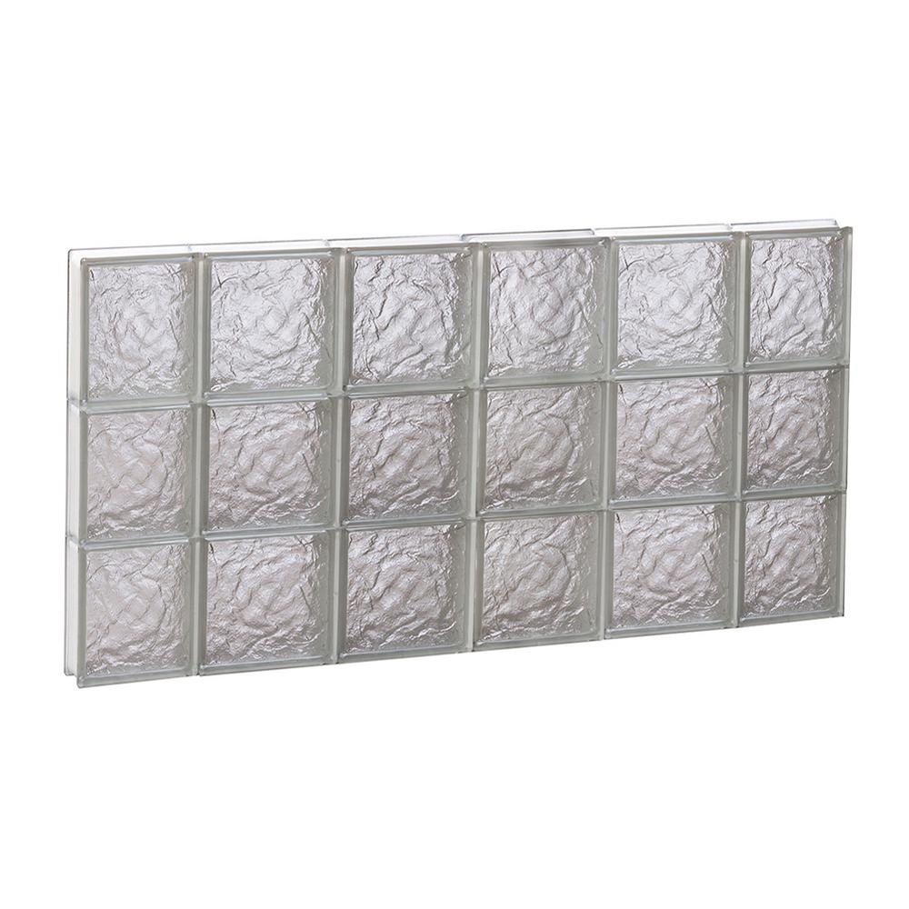 Clearly Secure 42.5 in. x 23.25 in. x 3.125 in. Frameless Ice Pattern Non-Vented Glass Block Window