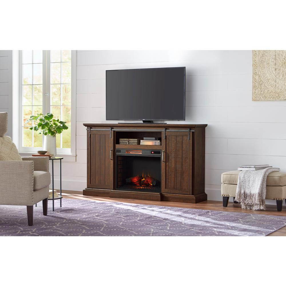 Home Decorators Collection Chastain 68 In Freestanding Media Console Electric Fireplace Tv Stand With Sliding Bar Door Rustic Walnut