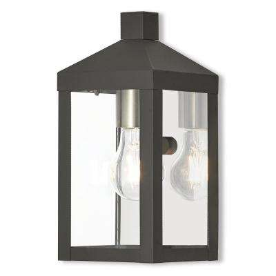 Nyack Collection 1-Light Black Outdoor Wall Mount Lantern