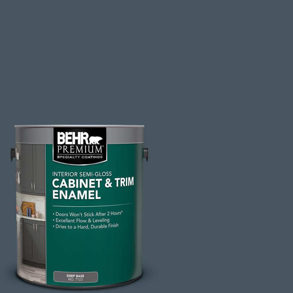 BEHR PREMIUM 1 gal. #N480-7 Midnight Blue Semi-Gloss Enamel Interior Cabinet and Trim Paint