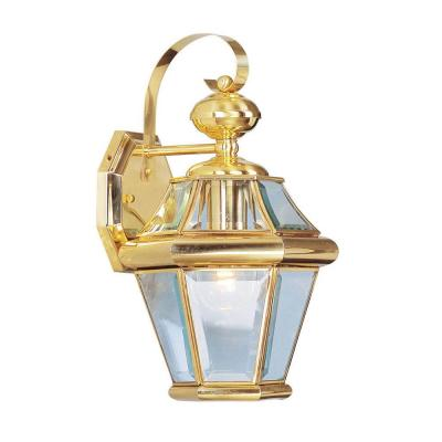Providence Wall-Mount 1-Light Polished Brass Outdoor Incandescent Wall Lantern Sconce