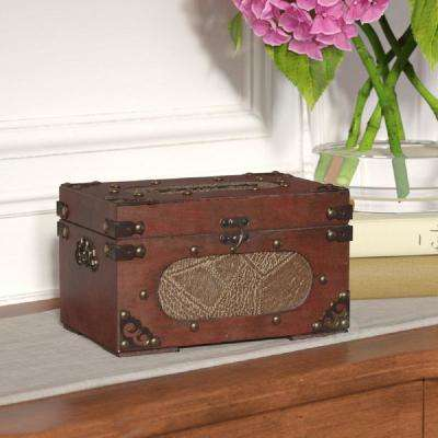 8.5 in. x 5 in. x 5.5 in. Antique Wooden Recipe Card Box
