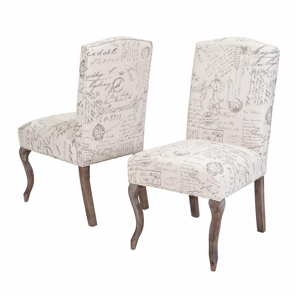 Le House Lynwood Beige Fabric French Script Dining Chairs Set Of 2