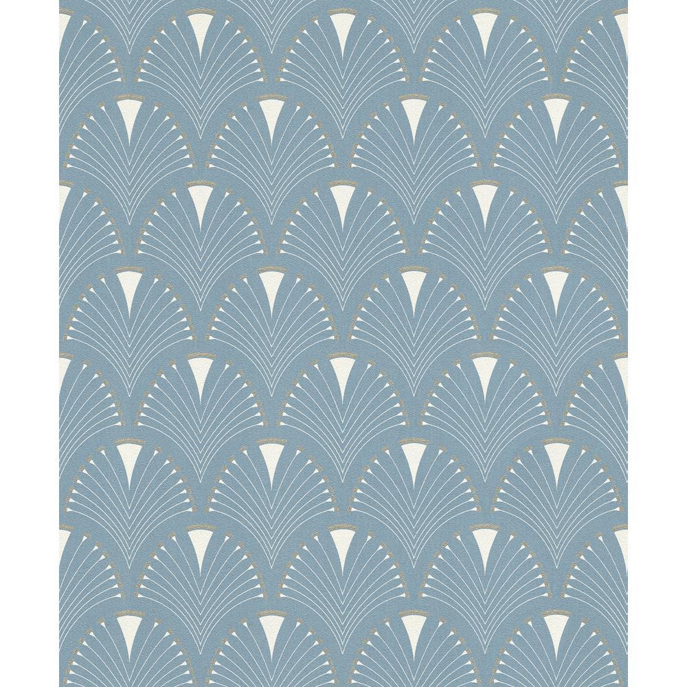 8 in. x 10 in. Ruhlmann Blue Fan Wallpaper Sample