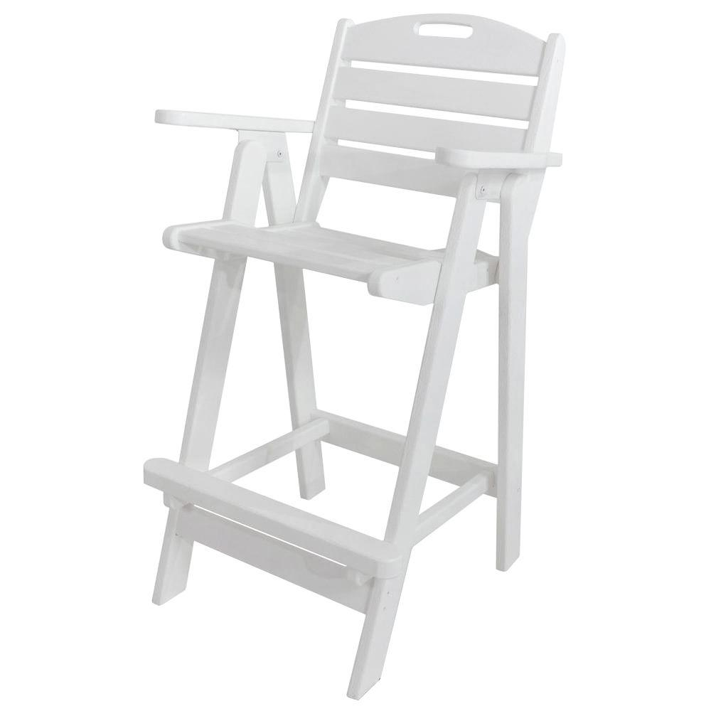 Polywood Nautical White Plastic Outdoor Patio Bar Chair Ncb46wh The Home Depot