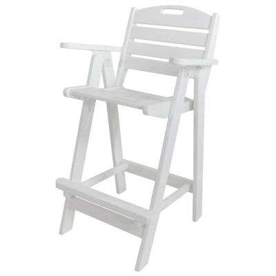 Nautical White Plastic Outdoor Patio Bar Chair