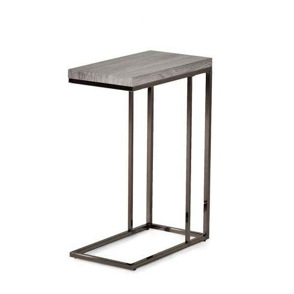 Lucia Dark Brown Chairside End Table with Nickel Base LU150CE
