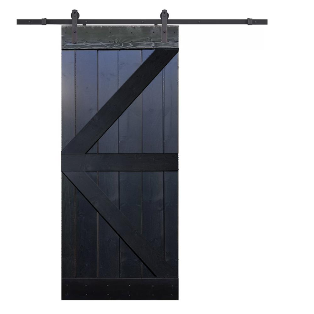 CALHOME 36 in. x 84 in. K-Style Knotty Pine Wood DIY Sliding Barn Door with Hardware Kit, Antique Bronze was $405.0 now $279.0 (31.0% off)