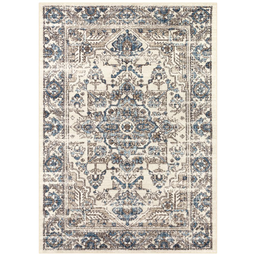 StyleWell StyleWell Ingraham Cream/Blue 5 ft. x 7 ft. Distressed Medallion Area Rug, Ivory