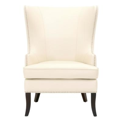 Moore Ivory Bonded Leather Wing Back Accent Chair