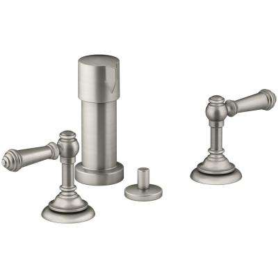Artifacts Lever 2-Handle Bidet Faucet in Vibrant Brushed Nickel