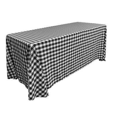 """90 in. x 132 in. White and Black Polyester Gingham Checkered Rectangular Tablecloth"""