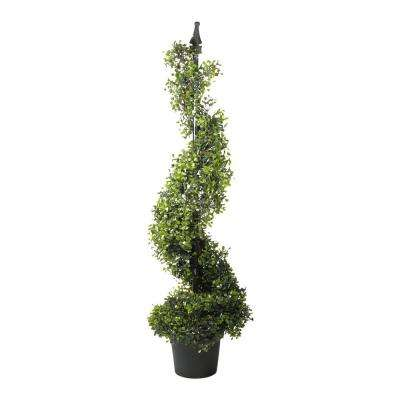 46.5 in. Potted Artificial 2-Tone Boxwood Spiral Topiary Tree