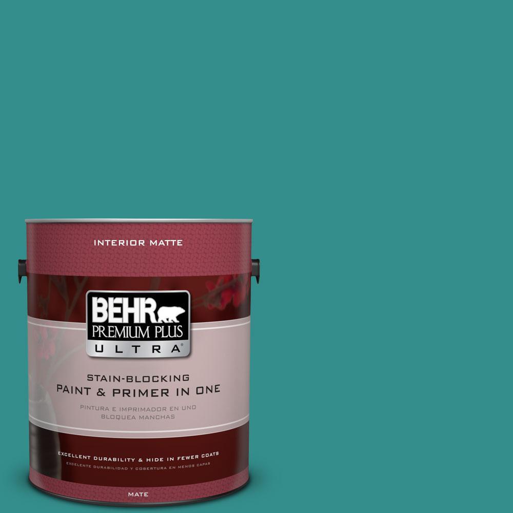 BEHR Premium Plus Ultra Home Decorators Collection 1 gal. #HDC-FL13-12 Taos Turquoise Flat/Matte Interior Paint