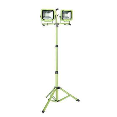 7500-Lumen 2-Head LED Work Light with Green Adjustable Metal Tripod