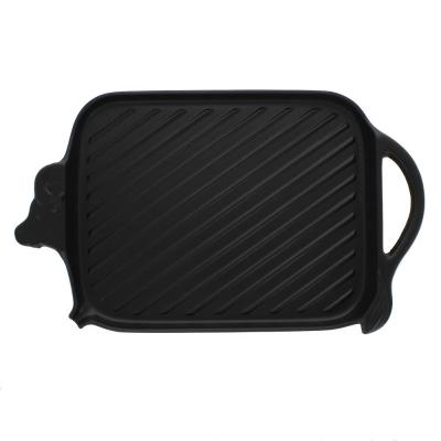 15 in. French Cast Iron Cow-Shaped Grill Pan
