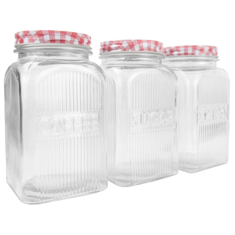 Home Basics Rustic Picnic 3-Piece Glass Canister Set CS45532