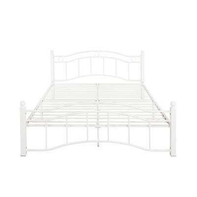 Bouvardia Contemporary Modern Queen-Size White Iron Bed Frame