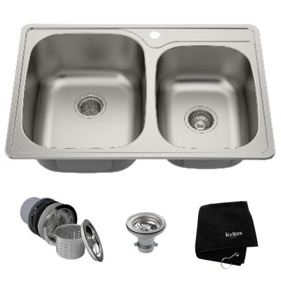Drop-In Stainless Steel 33 in. 1-Hole 60/40 Double Bowl Kitchen Sink Kit