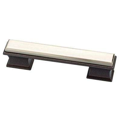 Luxe Square 3 or 3-3/4 in. (76 or 96mm) Center-to-Center Cocoa Bronze and Satin Nickel Dual Mount Drawer Pull