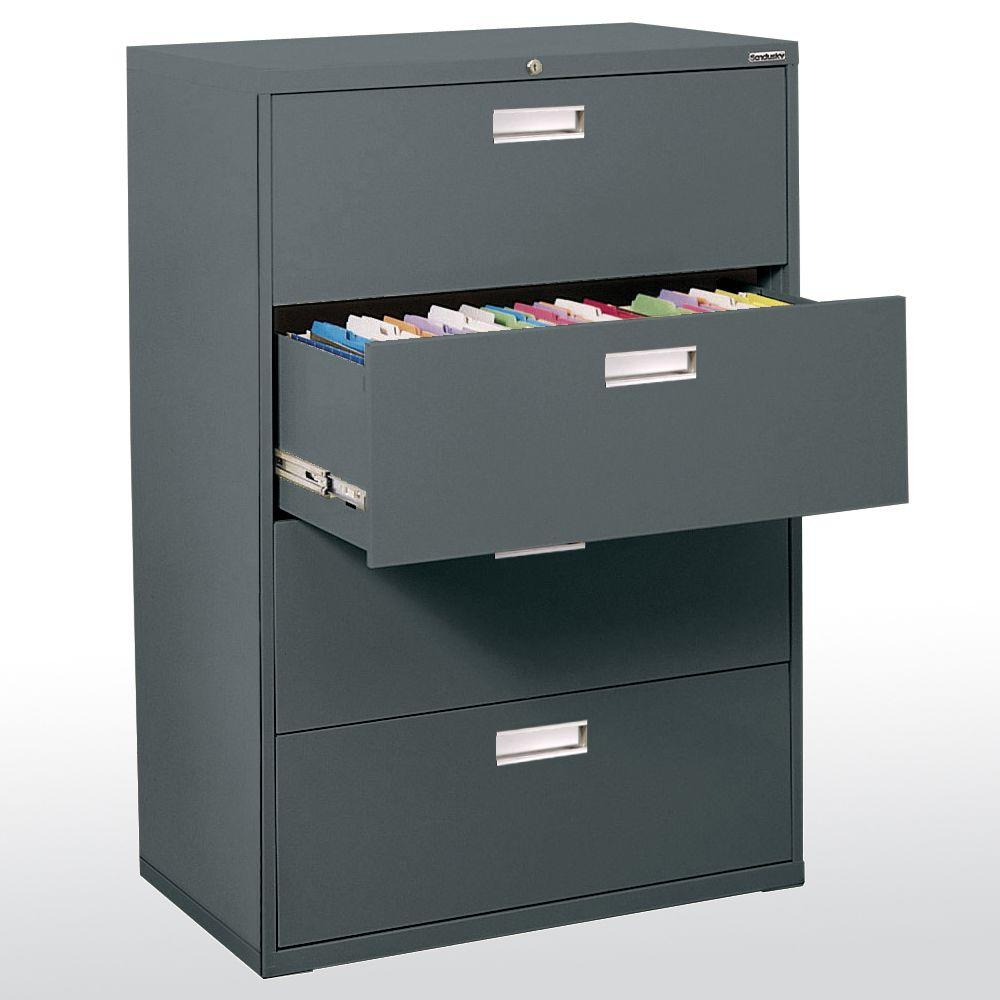 600 Series 36 in. W 4-Drawer Lateral File Cabinet in Charcoal