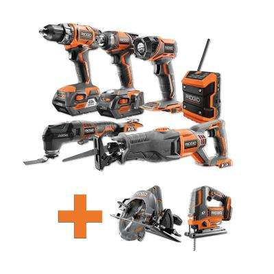 18-Volt Lithium-Ion Cordless Combo Kit (6-Tool) (2) 4Ah Batt and Charger w/Bonus Brushless Circular Saw and Jig Saw