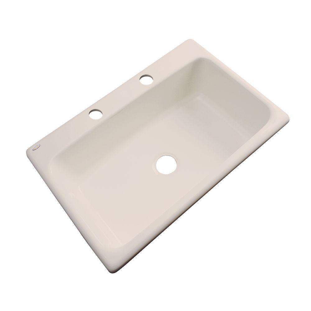 Thermocast Manhattan Drop-In Acrylic 33 in. 2-Hole Single Bowl Kitchen Sink in Candlelyght