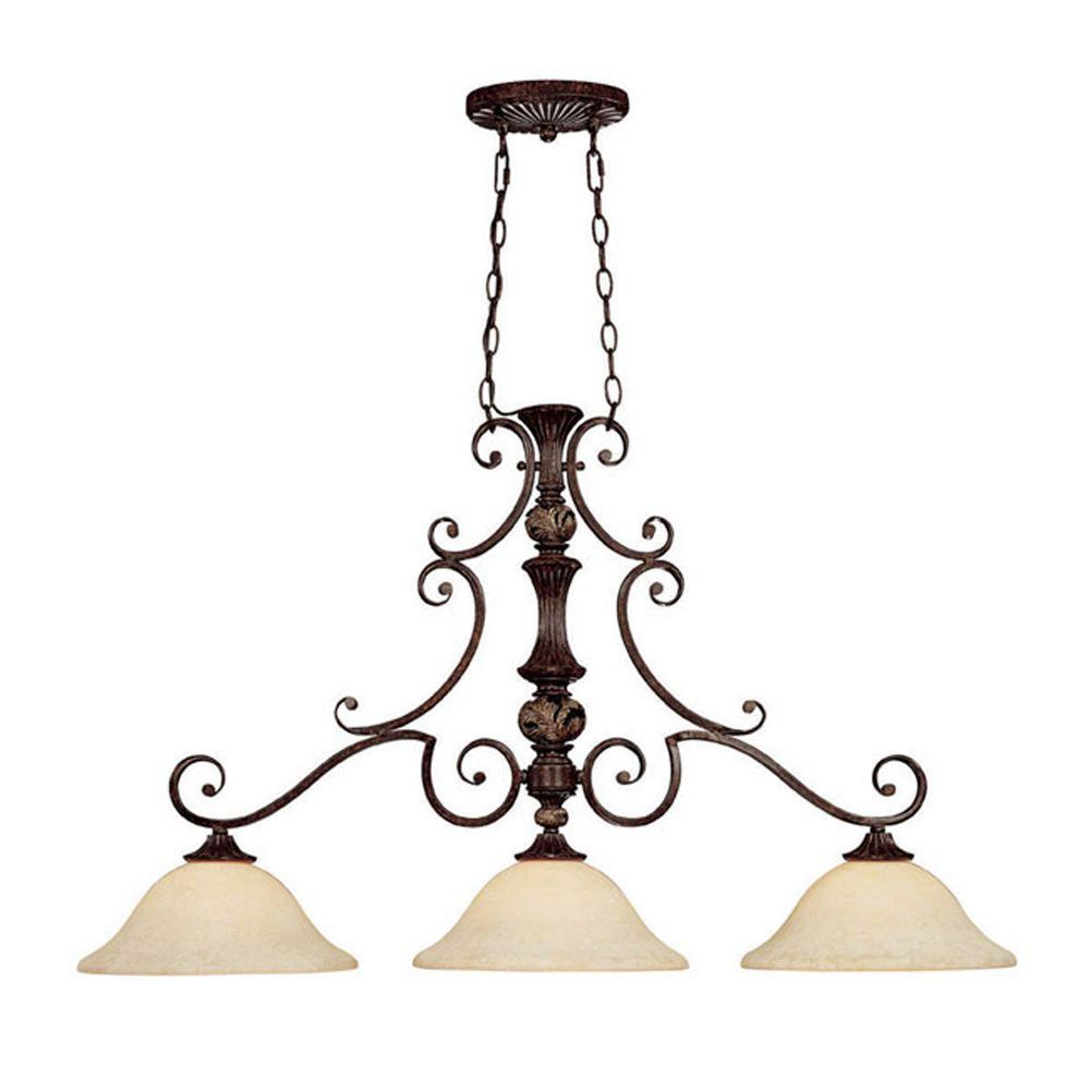 Filament Design 3-Light Chesterfield Brown Island Fixture with Rust Scavo Glass-DISCONTINUED