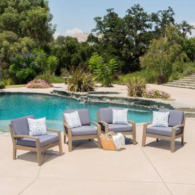 Gray Acacia Wood Outdoor Lounge Chairs with Dark Gray Cushion (4-Pack)