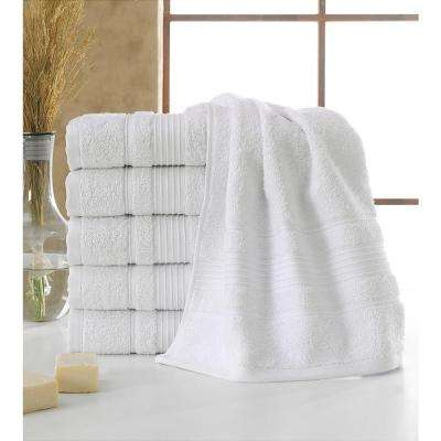 Solomon Collection 16 in. W x 30 in. H 100% Turkish Cotton Bordered Design Luxury Hand Towel in White (Set of 6)